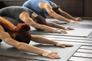 Gruppe Junger Personen Beim Yoga